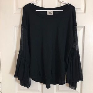 NWOT Free People Mesh Bell-Sleeve Top